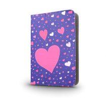 GreenGo univerzális tablet tok 7-8 colos, szív mintás