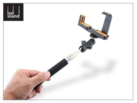 LED Sound Selfie Holder bluetoothos szelfi bot exponáló gombbal - fekete