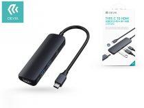 Devia USB Type-C - 2xUSB 3.0 + PD + HDMI elosztó/adapter - Devia Leopard 4 in 1 Hub - black