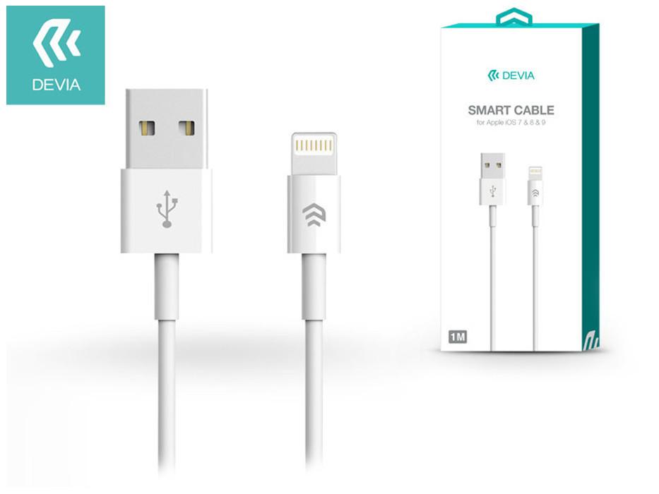 Apple iPhone 5/5S/5C/SE/iPad 4/iPad Mini USB töltő- és adatkábel 1 m-es vezetékkel - Devia Smart Cable Lightning - white